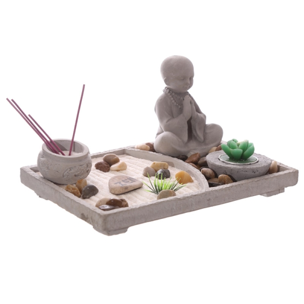 buddha zen garten mit teelicht kerze und r ucherst bchen rechteck ebay. Black Bedroom Furniture Sets. Home Design Ideas