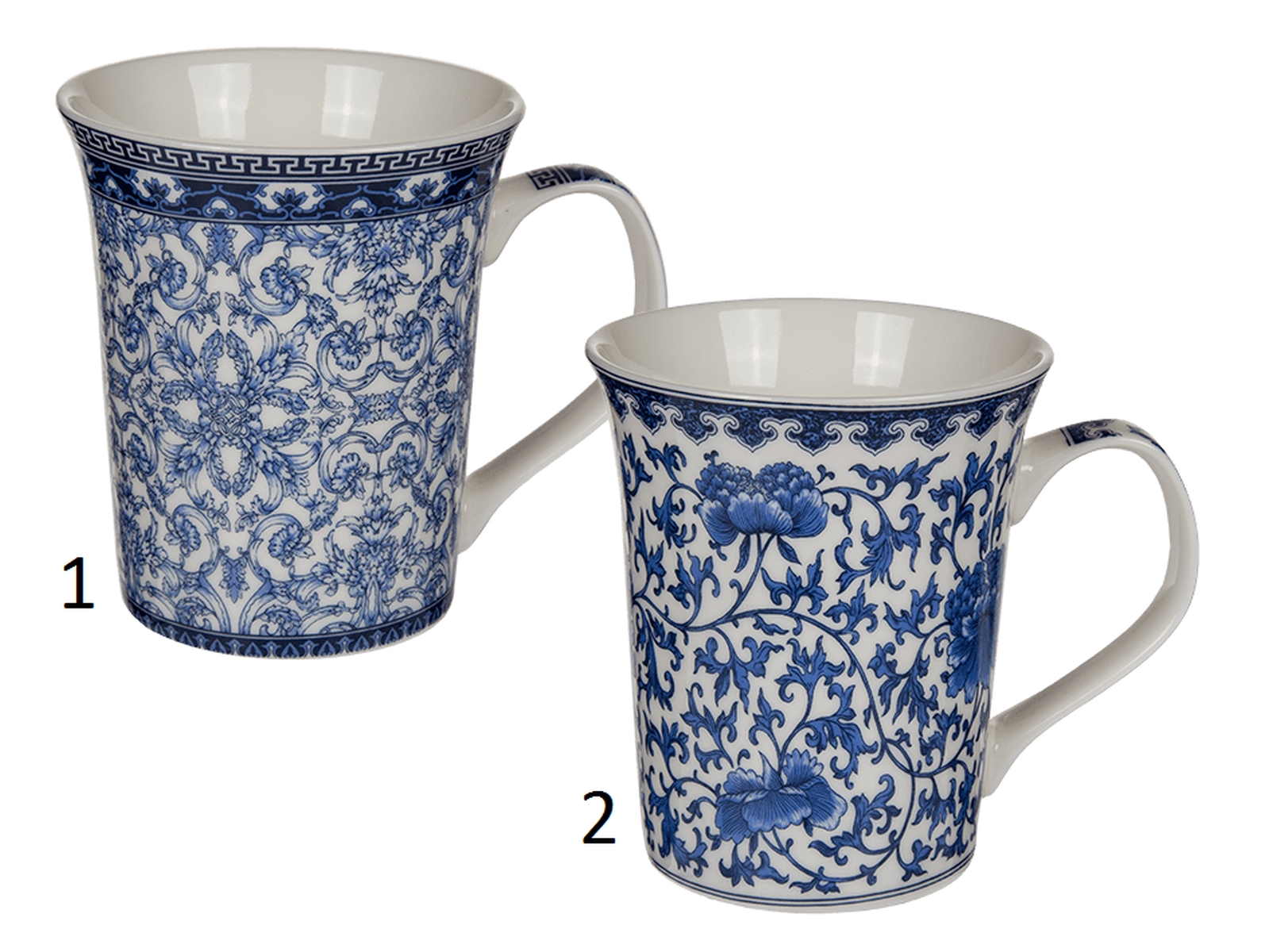blau wei e new bone china porzellan tasse var 1 2 kleine bl ten kaffeebecher ebay. Black Bedroom Furniture Sets. Home Design Ideas